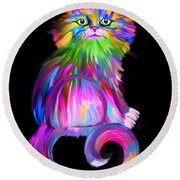 Finger Painted Cat Round Beach Towel