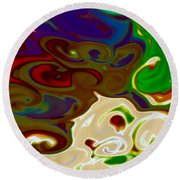 Fingerpainted Fantasy Round Beach Towel