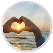 Fingers Heart Framing Ocean Sunset Round Beach Towel