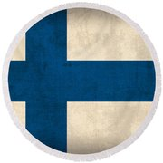 Finland Flag Vintage Distressed Finish Round Beach Towel