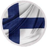 Finnish Flag Round Beach Towel