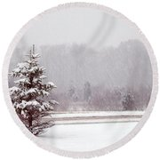 Winter Scene Round Beach Towel