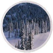Fir Trees, Mount Rainier National Park Round Beach Towel