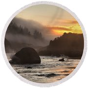 Fire And Fog At Trinidad Round Beach Towel