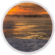 Fire And Ice Cropped Round Beach Towel