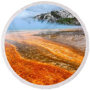 Fire And Ice - Grand Prismatic Spring On A Cloudy Day. Round Beach Towel