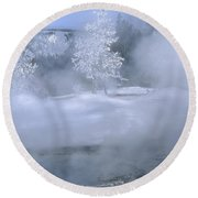 Fire And Ice II - Yellowstone Round Beach Towel