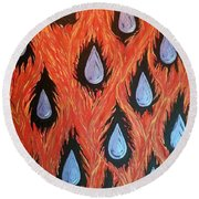 Fire And Rain Reversible Round Beach Towel