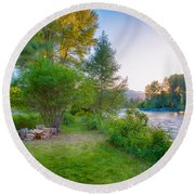 Fire And Water At Cottonwood Cottage Round Beach Towel