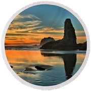 Fire At Low Tide Round Beach Towel