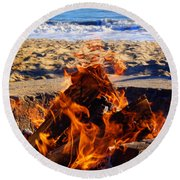 Fire At The Beach Round Beach Towel