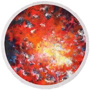 Fire Blazing In The Sky Round Beach Towel