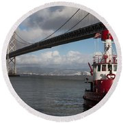 Fire Boat #2 Round Beach Towel