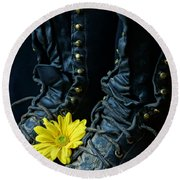 Fire Boots Hdr Round Beach Towel
