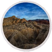 Fire Canyon Twilight Round Beach Towel