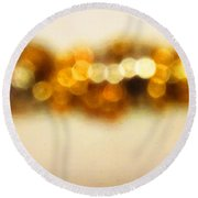 Fire Dance - Warm Sparkling Abstract Art Round Beach Towel by Sharon Cummings