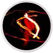 Fire Dancer 2 Round Beach Towel