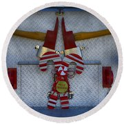 Fire Department Christmas 3 Round Beach Towel