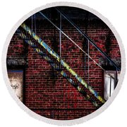 Fire Escape And Windows Round Beach Towel