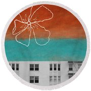 Fire Escapes Round Beach Towel by Linda Woods