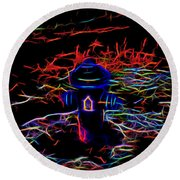 Fire Hydrant Bathed In Neon Round Beach Towel