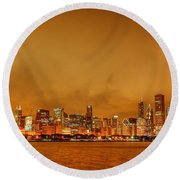 Fire In A Chicago Night Sky Round Beach Towel