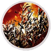 Fire In The Corn Field Round Beach Towel