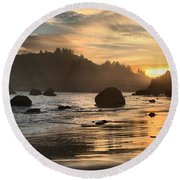 Fire In The Sand Round Beach Towel by Adam Jewell