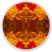 Fire In The Sky Abstract Pattern Artwork Round Beach Towel