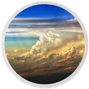 Fire In The Sky From 35000 Feet Round Beach Towel by Scott Norris