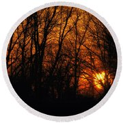 Fire In The Woods Sunset Round Beach Towel