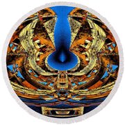 Fire In Wood Round Beach Towel