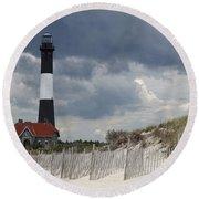 Fire Island Light From The Beach Round Beach Towel