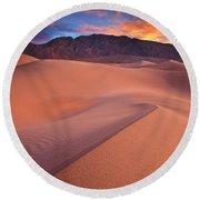 Fire On Mesquite Dunes Round Beach Towel by Darren  White