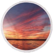 Fire On The Lake Round Beach Towel