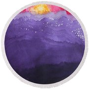 Fire On The Mountain Original Painting Round Beach Towel