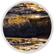 Fire On The Water Round Beach Towel