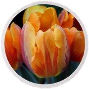 Fire Orange Tulip Flowers Round Beach Towel