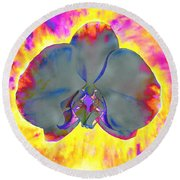 Fire Orchid Round Beach Towel