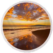 Fire Over Lahaina Round Beach Towel