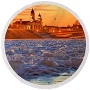 Fire Over The Clinton County Courthouse Round Beach Towel
