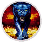 Fire Panther Round Beach Towel
