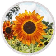 Fire Petals Round Beach Towel