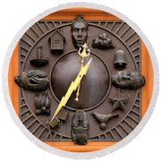 Fire Station Clock Round Beach Towel