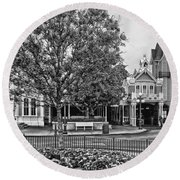 Fire Station Main Street In Black And White Walt Disney World Round Beach Towel