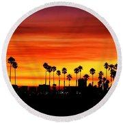 Fire Sunset In Long Beach Round Beach Towel