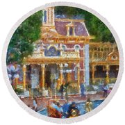 Fire Truck Main Street Disneyland Photo Art 02 Round Beach Towel