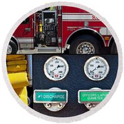 Fire Truck With Isolated Views Round Beach Towel