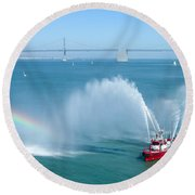 Fireboat Salute Round Beach Towel
