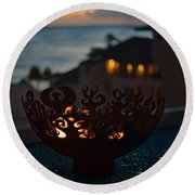 Firebowl At Night Round Beach Towel